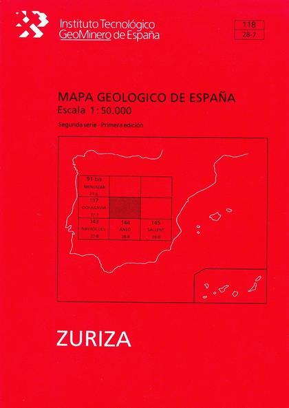 MAPA GEOLÓGICO DE ESPAÑA, ESCALA 1:50.000, N. 118 ZURIZA.