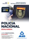 POLICÍA NACIONAL ESCALA BÁSICA. TEST VOLUMEN 2 CIENCIAS SOCIALES Y MATERIAS TÉCN.