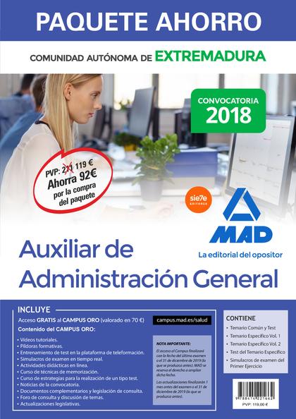 COMPRA ANTICIPADA PAQUETE AHORRO AUXILIAR DE ADMINISTRACIÓN GENERAL DE EXTREMADU