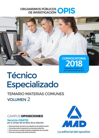 TÉCNICO ESPECIALIZADO DE LOS ORGANISMOS PÚBLICOS DE INVESTIGACIÓN. TEMARIO DE MA