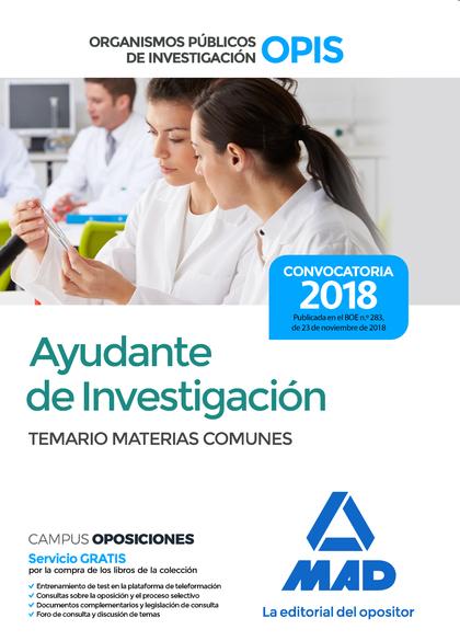 AYUDANTES DE INVESTIGACIÓN DE LOS ORGANISMOS PÚBLICOS DE INVESTIGACIÓN. TEMARIO