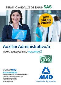 AUXILIAR ADMINISTRATIVO/A DEL SAS. TEMARIO ESPECIFICO VOLUMEN 2.
