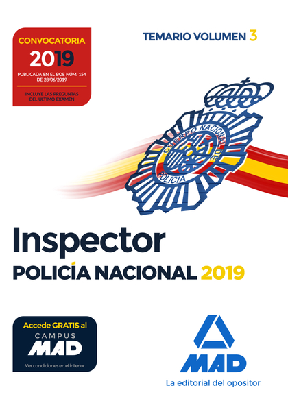 INSPECTOR DE POLICÍA NACIONAL. TEMARIO VOLUMEN 3.