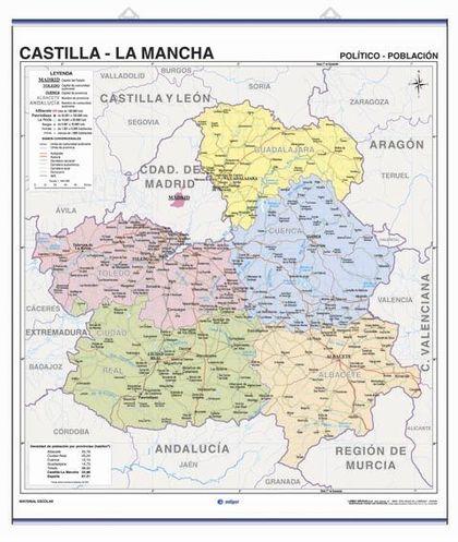 CASTILLA-LA MANCHA, FÍSICO Y POLÍTICO