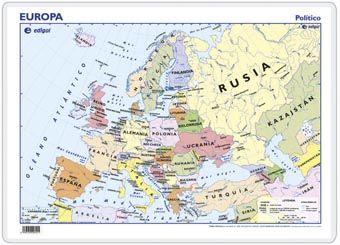 MAPA ESCRITORIO EUROPA, POLÍTICO/FÍSICO